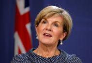 وزيرة خارجية استراليا جولي بيشوب خلال مؤتمر صحفي في سيدني يوم 4 مايو أيار 2017. تصوير: جيسون ريد - رويترز