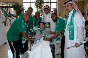 #اليوم_الوطني | أبطال العالم لذوي الاحتياجات الخاصة يزورون مرضى مدينة الملك فهد الطبية