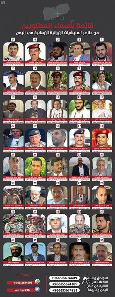 المملكة تعلن عن ارقام التواصل للإبلاغ عن قائمة الـ 40 في جماعة الحوثي