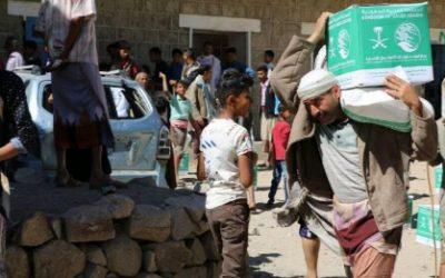 مركز الملك سلمان للإغاثة يوزع 2000سلة غذائية في مديرية مشرعه وحدنان في تعز
