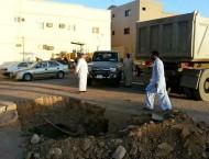 """""""أمانة حائل"""" تغلق فتحه بالقرب من مستشفى حائل العام"""