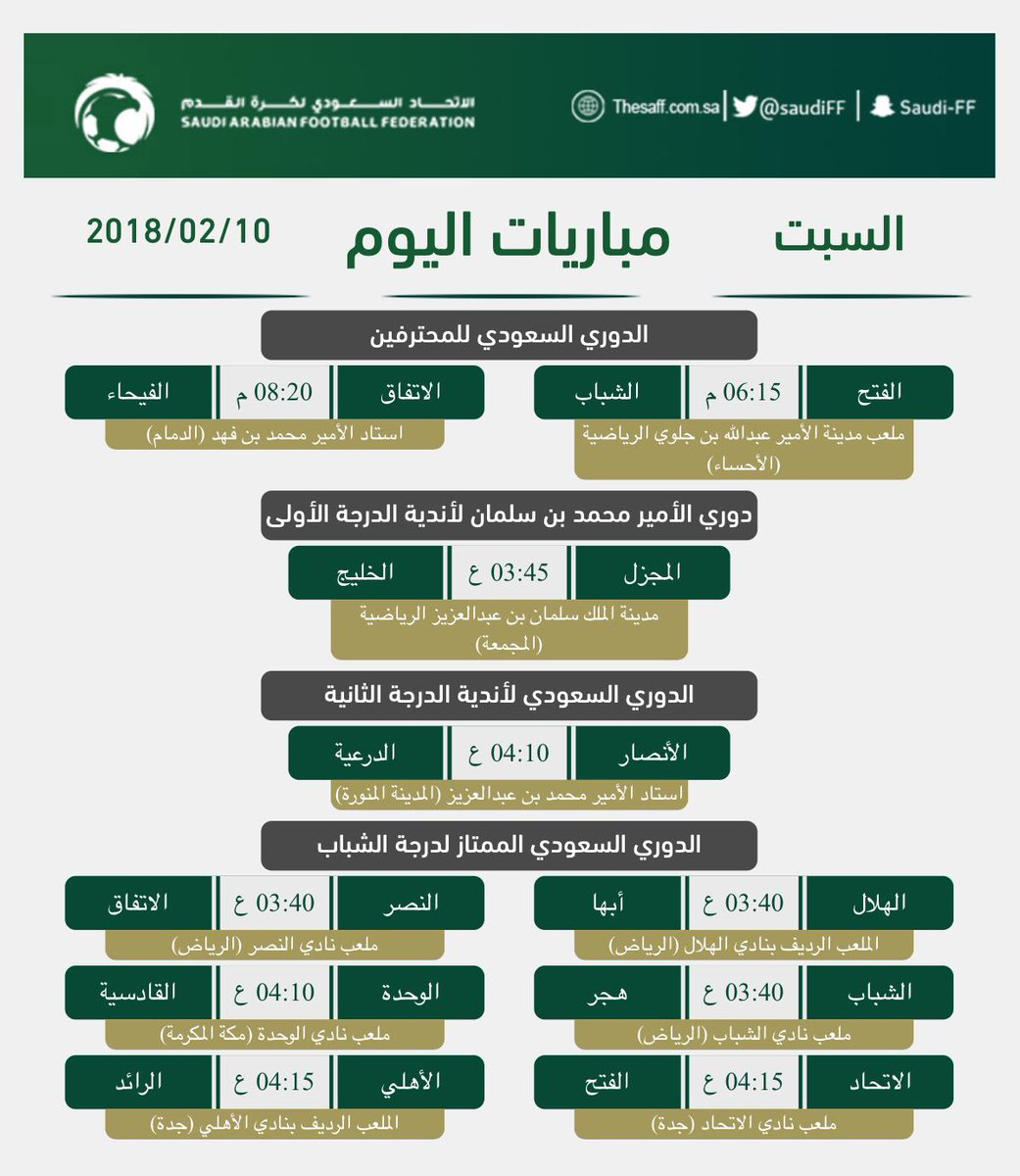 جدول مباريات اليوم السبت صحيفة صراحة الالكترونية